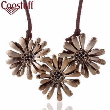Wholesale Bronze Flowers pendant Women Jewelry statement necklaces & pendants Long necklace Woman collares mujer colar choker